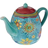 Certified International Tea Pot Ceramic Blue, Tunisian Sunset Collection, 40 Ounces