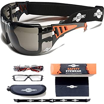 104d939a7028 ToolFreak-Rip Out Safety Glasses & Sunglasses,Wraparound Tinted Lens,Can Be  Worn As Goggles for Work & Sport, Impact and UV Protection,Rated to  EN166FT,Fog ...