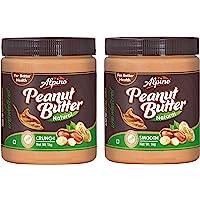Alpino Natural Peanut Butter Crunch 1Kg (Unsweetened) and Alpino Natural Peanut Butter Smooth 1Kg (Unsweetened)