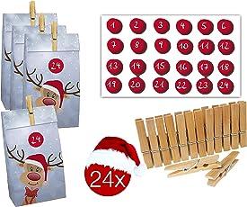 TK Gruppe Timo Klingler DIY Adventskalender Set, 24x Adventskalendertüten zum befüllen/selberfüllen, Holzklammern Klammern, Zahlenaufkleber zum Basteln