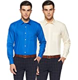 Amazon Brand - Symbol Men's Solid Regular Fit Full Sleeve Cotton Formal Shirt (Combo Pack of 2)