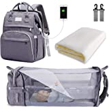 SNDMOR sac à langer pour bébé sac à dos, sacs à langer grande capacité, sac à langer de voyage portable avec lit pliable, sac