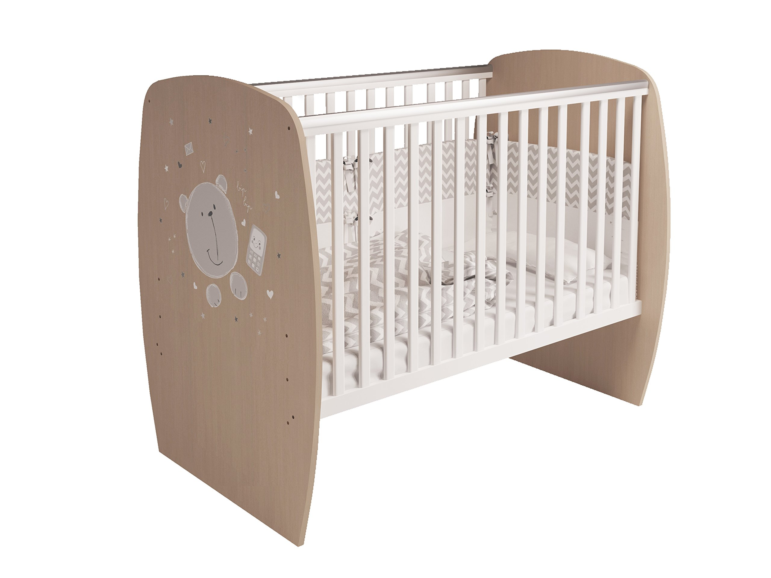 Polini Kids 0001527.62 French 700 Teddy Design Baby Cot, White-Pastel Oak Polini Kids 3 heights of the slatted bed base Protective PVC rails and soft-cornered bed sides Available with and without a drawer 1
