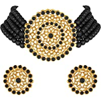 Peora Gold Plated Pearl Diamond Kundan Choker Necklace with Round Earrings Traditional Jewellery Set