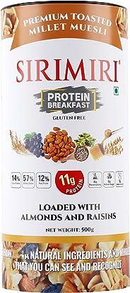 SIRIMIRI Premium Toasted Millet Muesli Protein Breakfast Loaded with Almonds and Raisins, 500 Grams - Gluten Free (with Natu