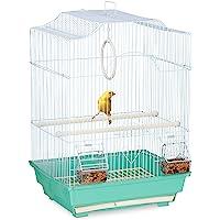 Relaxdays Cage à Oiseaux, métal, pour Petits canaris, perchoirs & mangeoires, HLP 49,5 x 35 x 32 cm, Bleu Clair/Menthe