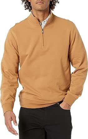 Amazon Essentials Herren Leichtes Sweatshirt mit Stehkragen aus French Terry mit Viertel-Reißverschluss