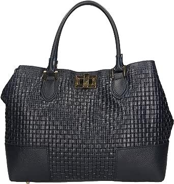 Chicca Borse Handbag Borsa a Mano Stampa Intrecciata da Donna con Tracolla in Vera Pelle Made in Italy - 37x27x14 Cm