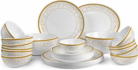 Cello Royale Collection Opalware Dinner Set, Amber Gold(Pack of 27)