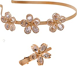 Zelin Fashion Crystal Flower Hairband with Hairpin
