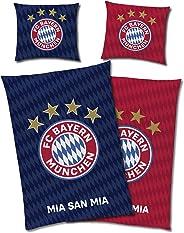 FC Bayern München Wende-Bettwäsche - MIA SAN MIA Glow in The Dark 135 x 200 + 80 x 80 cm 100% Baumwolle Linon Renforcé Fußba
