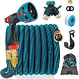 """IDEALHOUSE 100FT Expandable Garden Hose, 10 Function Spray Gun with 3/4"""" Solid Brass Fittings, 2-Way Pocket Flexible Splitter"""