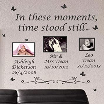 Small In These Moments Time Stood Still Wall Quote Stickers Wall Decal Words  Lettering Yellow: