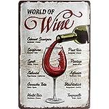 Nostalgic-ArtOpen Bar - World of Wine - Gift idea for bar decorationRetro Tin SignMetal PlaqueVintage design for wall decora
