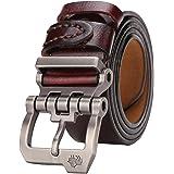 Bison Denim Men's Belt Leather Waistband Casual Alloy Buckle Belts