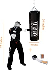 Aurion Unfilled Punch Bag 3ft 4ft 5ft 6ft Boxing MMA Sparring Punching Training Kickboxing Muay Thai with Hanging Chain