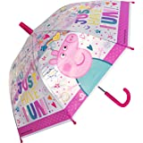 Chanos Chanos Peppa Pig Safety Runner PoE Transparent Folding Umbrella, 38 cm, Pink Paraguas Plegable, Rosa (Pink)