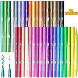 U UZOPI Feutre Coloriage Adulte, 36 Stylos Feutres Double Pointe Feutre Pointe Fine 0.4mm/Feutre Pinceau 1-6mm pour Coloriage