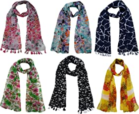 FusFus Women's Printed Trendy Stoles, Free Size(Multicolour, F0168) - Pack of 6