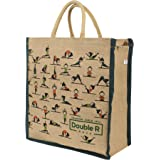 DOUBLE R BAGS Big Eco Reusable Yoga Print Jute Cloth Carry Lunch Tiffin Box with Bottle Organizer Small Size with Zip Reinfor