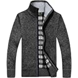 Mens Insulated Fleece Lined Knitted Zip Up Cardigan Jumper - Various Styles