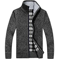 westAce Mens Zip Up Thick Fleece Lined Winter Knitted Cardigan Classic Jumper Cardigan