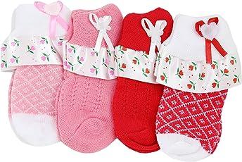 Neska Moda Kids 4 Pair Multicolor Ankle Length Frill Socks for Age Group 2-3 Years