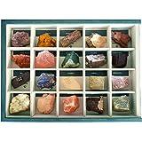 Colección de 20 Minerales del Mundo Premium en Caja de Madera Natural - Minerales Reales educativos de Gran tamaño con Hoja d