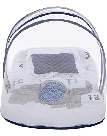 Superminis Multicolor Digital Elephant Print On White Base Design Bedding Set Thick Base, Foldable Mattress, Colorful Frill Pillow and Both Side Zip Closure Mosquito Net (12-18 Months, Blue)