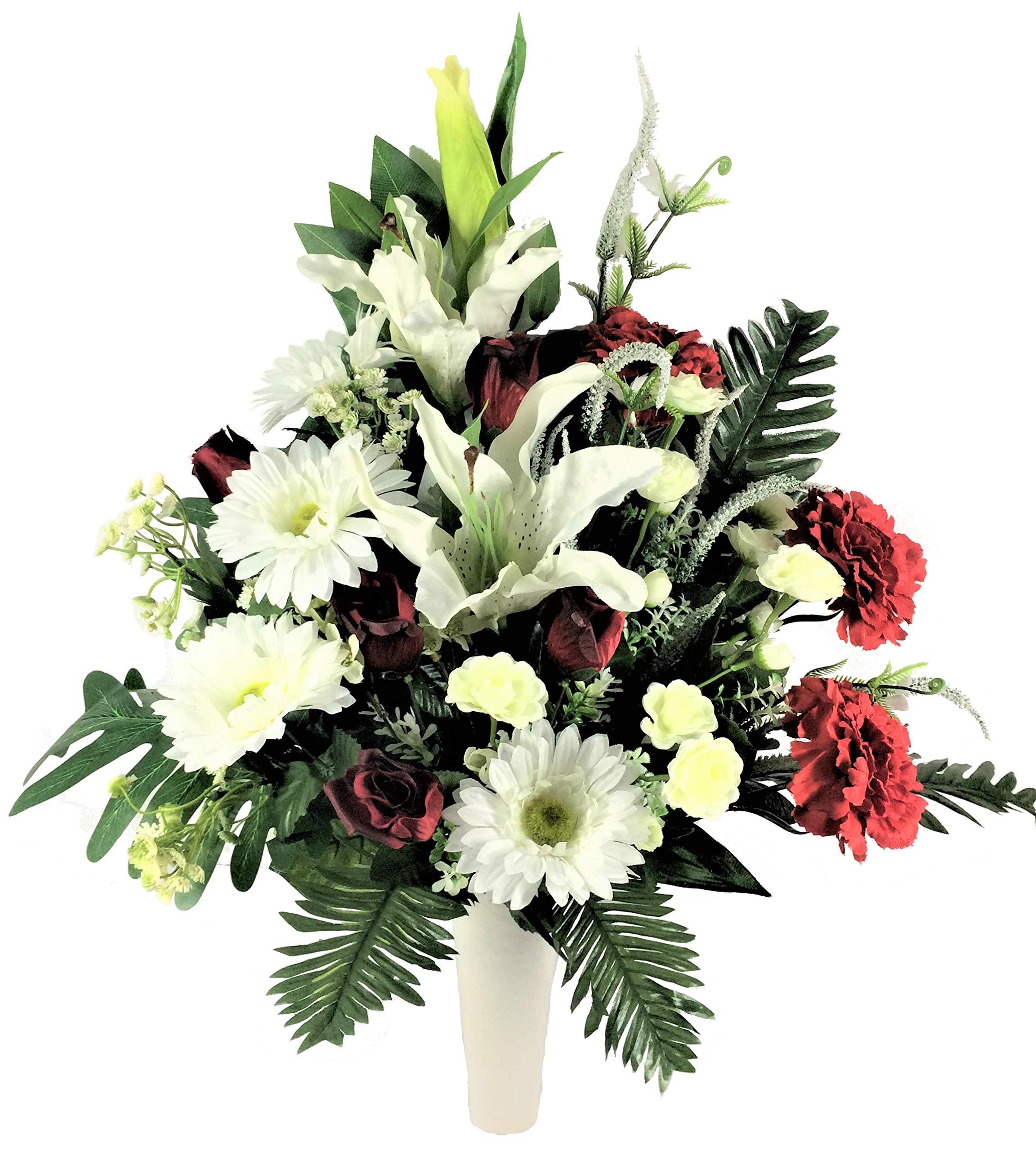 LBA Centro de Flores Artificiales para Cementerio, Preparado para Introducir en los Botes de Tumbas o Nichos. Varios…
