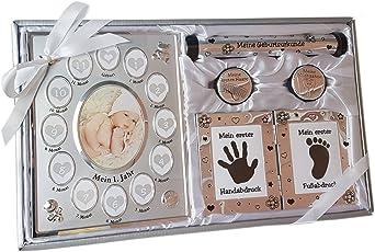 Geschenk Zur Geburt Baby Geschenkset Neutral Für Eltern Mit Bilderrahmen Mein Erstes Jahr Geschenkidee Werdende Mutter Handabdruck Neugeborene Taufgeschenk Babygeschenk