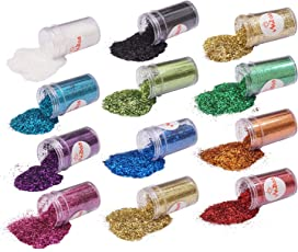 Midas Sparkle Cosmetic Sparkling Mix Fine Glitter Powder- Safe for Skin and Nail Art and Craft, 17ml (Assorted, Pack of 12-Nail Art)