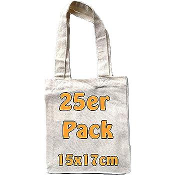 98aca061643f1 Kleine Baumwolltasche unbedruckt 15x17 cm als kleine Geschenktasche zur  Aufbewahrung oder zum Bemalen für Kinder 100% Baumwolle Stofftasche  Jutebeutel 25 ...