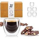 Tempery ✮ Tasse à café/Expresso/Espresso en Verre - 8cl - Set/Coffret de 6 Tasses à café Double paroi – Tasse Expresso Origin