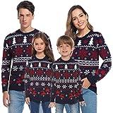 Aibrou Suéter de Navidad Familia Pullover de Punto Jerséis para Mujer Hombre Invierno Manga Larga Jersey Navideño para Niño N