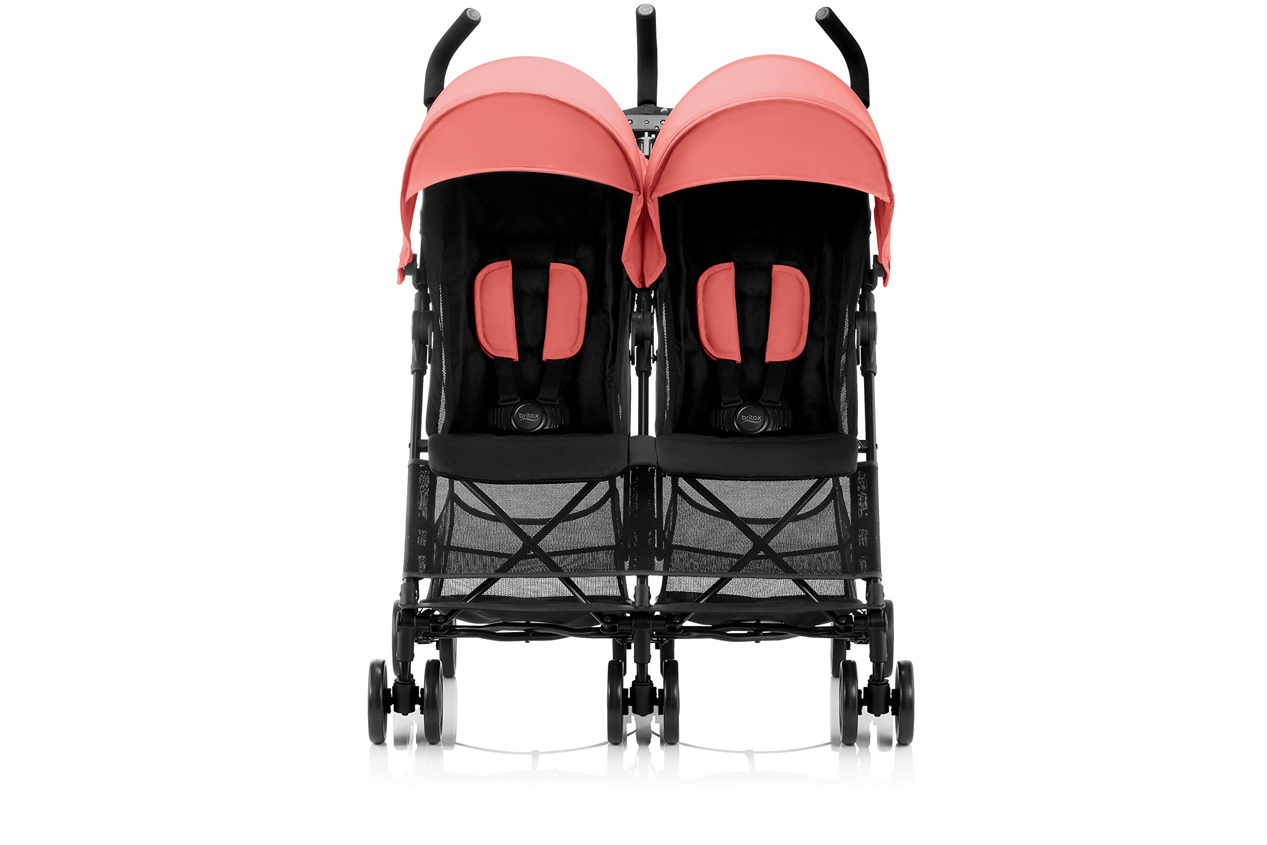 Britax Römer HOLIDAY DOUBLE buggy, 6 months to 3 years (up to 15 kg per seat),Coral Peach Britax Römer Reclining backrest - you can make your child's journey even more convenient with the reclining backrest. the backrest can be reclined independently which gives you the flexibility to provide a relaxing sleeping position for each child individually. Seat unit with mesh panels - to keep your child comfortable on hot days, the seat unit has mesh panels on the sides and top of the seat unit for better air circulation. Large hood with sun visor - when taking a nice relaxing stroll in the sun, the large hoods with sun visor are independently adjustable and provide protective shade to your little passenger. 2