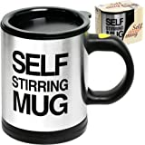 Self Stirring Coffee Mug, 8 oz Stainless Steel Automatic Self Mixing & Spinning Cup by Chuzy Chef