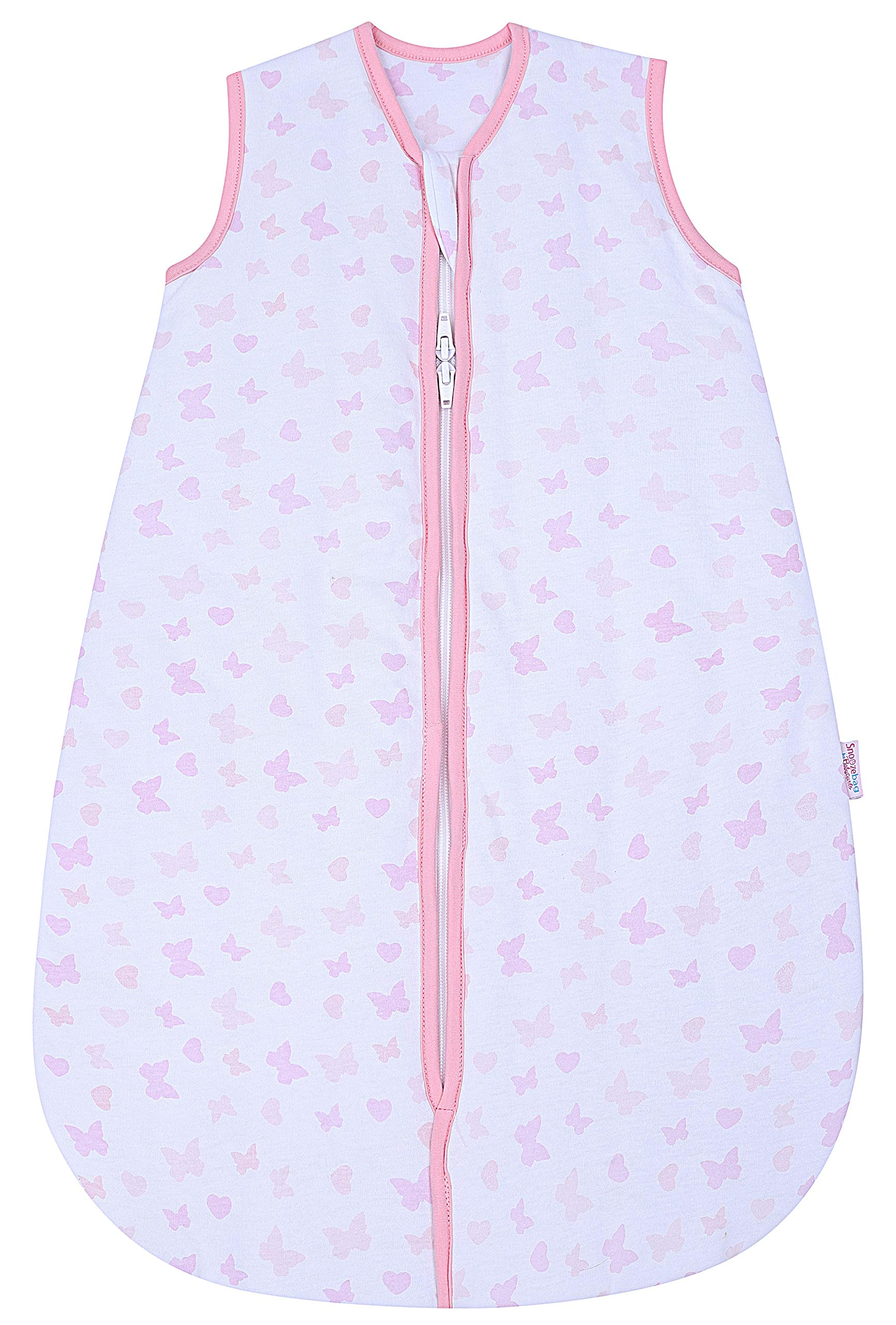 Snoozebag – Saco de Dormir Unisex 2.5 TOG bebé, 100% algodón, con Estampado Mariposas y Corazones de Talla: 0-6 Meses