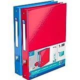 OXFORD Lot de 2 Classeurs Color Life A4XL Dos 40mm 4 Anneaux Ronds Couverture Carte Pelliculée Couleur Bleu et Rouge
