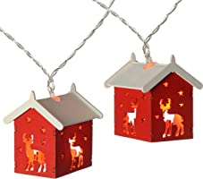 WeRChristmas Reindeer Wooden House Light String with 10-LED - Red