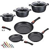Kamberg - 0008161 - Batterie de cuisine 12 pièces : 3 poêles / 3 faitouts - Fonte d'aluminium - Revêtement pierre - Tous feux