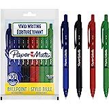 PaperMate Stylos à bille Alfa rétractable   Pointe moyenne (1,0mm)   Encre assorties   Lot de10