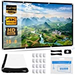 Projector Screen, Upgraded 120 inch 4K 16:9 HD Portable Projector Screen, Premium Indoor Outdoor Movie Screen Anti-Crease...