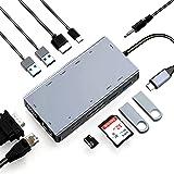 ABLEWE Hub USB C 11 en 1,Tipo C Adaptador Type C Hub con 4K HDMI,2 USB 3.0,2 USB 2.0,VGA,PD Puerta,Lector Tarjetas SD/TF,RJ45