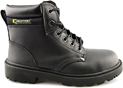 Grafters Mens Leather Lightweight Activ –Step Safety Lace Up Work Ankle Boots Shoes Size