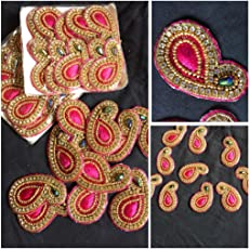 XLDreams Beautiful 6 Pink Colour Patches for Blouse/Saree/Dress Design