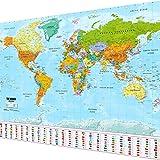 GOODS+GADGETS Mapa świata XXL plakat w ogromnym formacie z flagami i flagami - najwyższa jakość (140 x 100 cm)