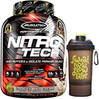 Muscletech Performance Series Nitrotech Whey Protein Peptides & Isolate (30g Protein, 1g Sugar, 3g Creatine, 6.9 BCAAs, 5.3g Glutamine & Precursor, Post-Workout) - 4lbs (1.81 kg) (Cookies and Cream)