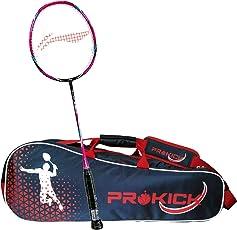 Li-Ning Pro Badminton Combo (Turbo X 80 II Lightweight Badminton Racquet, Black/Pink + Prokick Double Zipper Badminton Kitbag, Navy)