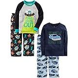 Simple Joys by Carter's Conjunto de Pijama Superior de algodón y Parte Inferior de Forro Polar Bebé-Niños, Pack de 4